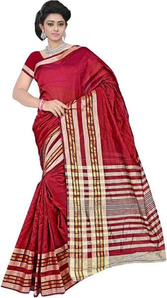 LadyIndia.com #Printed Sarees, Classy Silk Maroon Saree For Women -Sari, Printed Sarees, Casual Saris, Silk Saree, https://ladyindia.com/collections/ethnic-wear/products/classy-silk-maroon-saree-for-women-sari