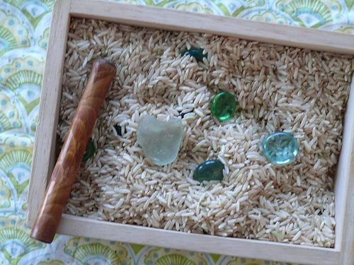 A rice box to help students calm down and relax. It's a wooden box filled with rice. We mixed a teaspoon of Lavender essential oil into it, dropped a few shiny marbles, stones and seaglass inside, added a bamboo stick to stir the rice and look for all the hidden loveliness.
