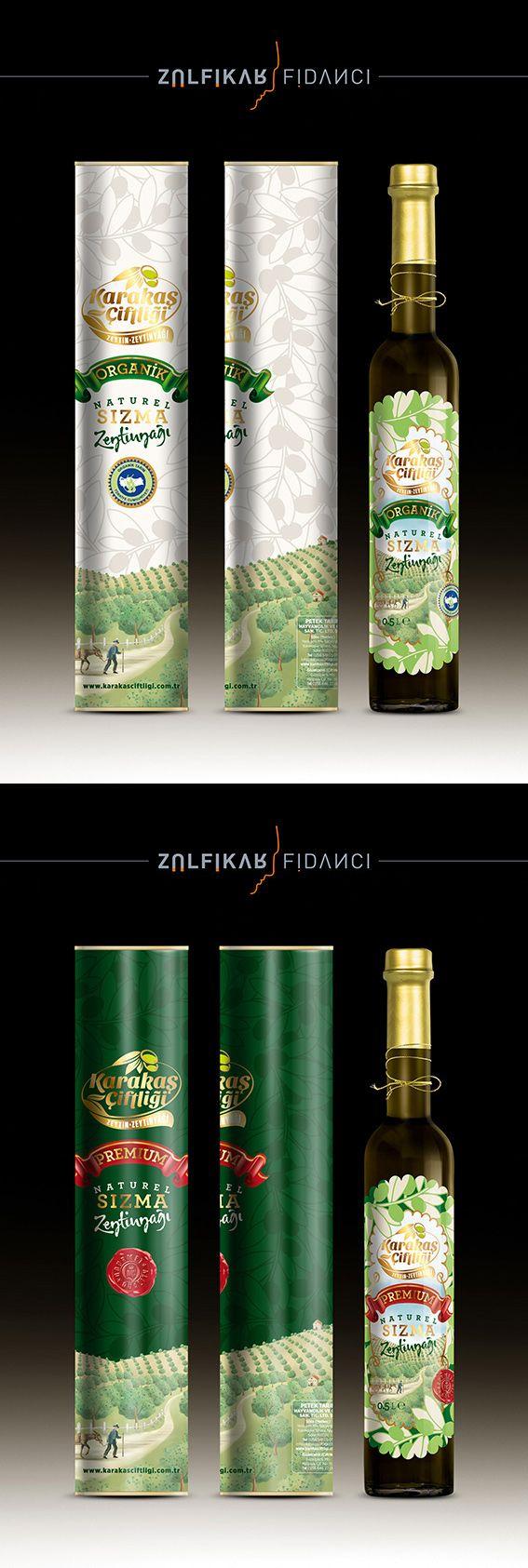 Karakaş Çiftliği markasına butik üretim zeytinyağı etiket ve silindir kutu ambalaj tasarımı. Tasarım ZÜLFİKAR FİDANCI