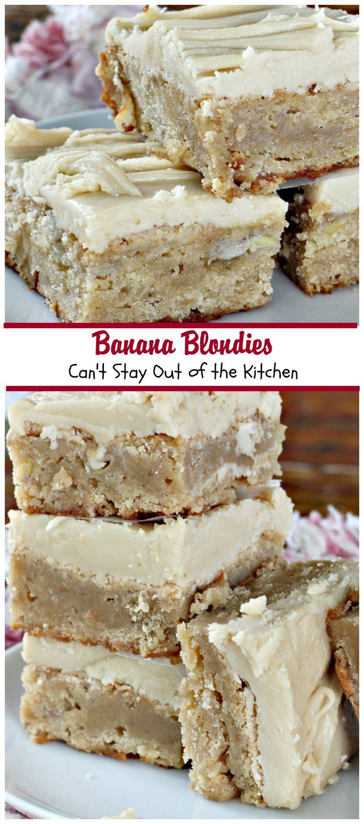 Banana Blondies | Can't Stay Out of the Kitchen | these scrumptious #brownies are to die for! The #frosting is fabulous. #bananas #cookie #dessert