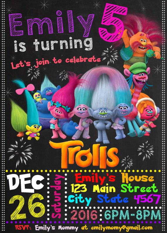 Trolls Movie Birthday Invitation