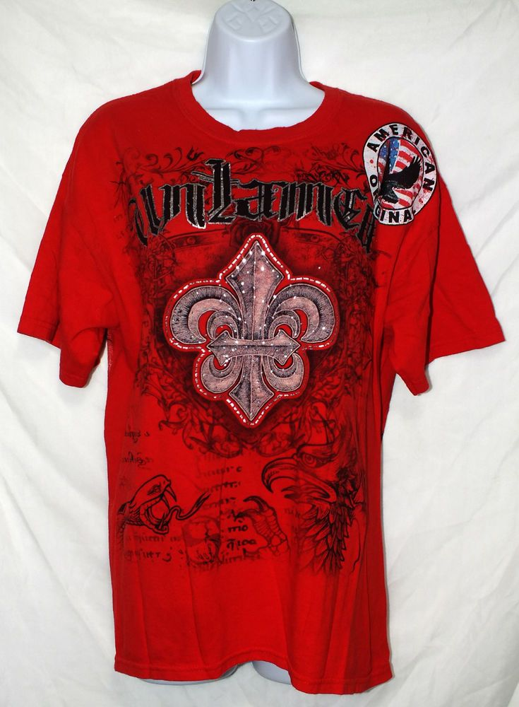 Mens red short sleeve graphic casual tshirt size m