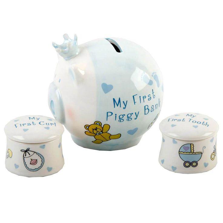 Malacpersely és első fog- és hajtincs tartó, kék ~ Ez a világoskék kerámia malacpersely és első fog- és hajtincs tartó szett egyedi ajándék kisfiúknak.