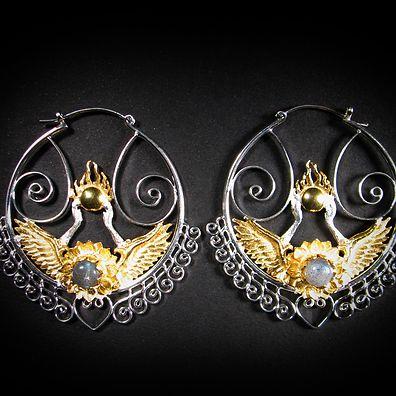 Shakti Bhakti Earrings (Silver & Gold) Liquid Fire Mantra - http://www.liquidfiremantra.com/
