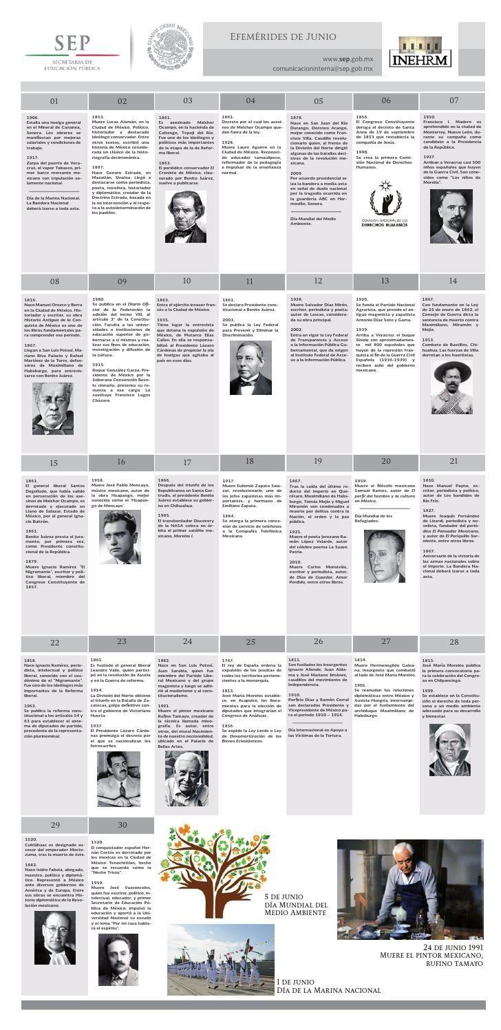 EFEMÉRIDES JUNIO SEP INEHRM  Efemérides mexicanas del mes de junio, publicadas por la Secretaría de Educación Pública a través del Instituto de Estudios Históricos de las Revoluciones de México.