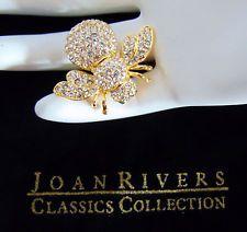 Новые Джоан Риверс Паве кристалл апреле камень пчела заколка брошь dbl крыло со стразами