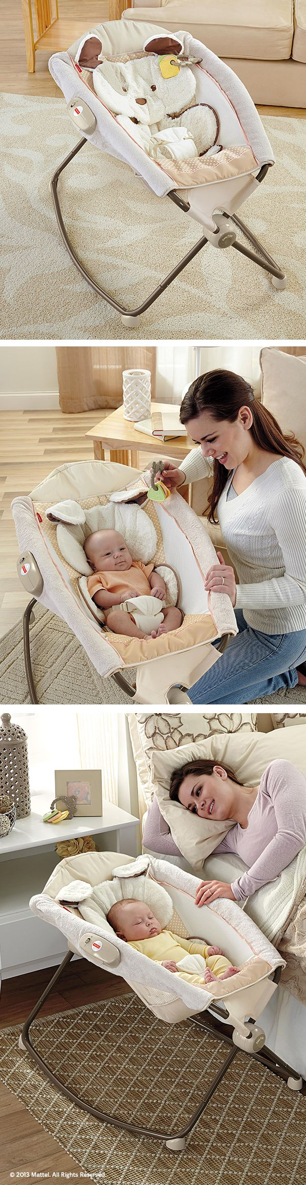 The My Little Snugapuppy™ Deluxe Newborn Rock 'n Play™ Sleeper softly swings and vibrates baby to sleep. #BabyGear