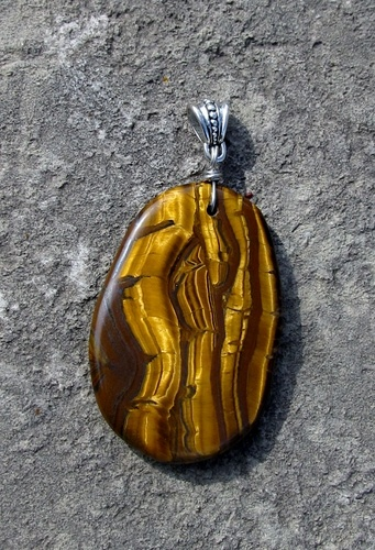 Tiger Eye Iron Gemstone Pendant with Bail. Starting at $1 on Tophatter.com!