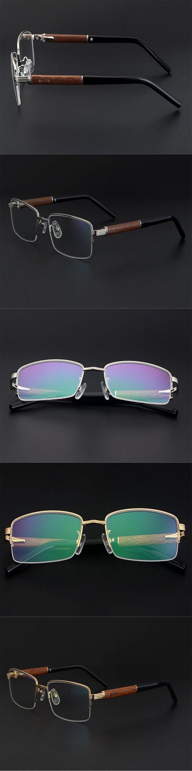 DOWER ME Brand Men Half Rim Alloy Business Wooden Temple Gold Silver Myopia Reading Eyeglasses Presbyopia Eyewear JLSA7
