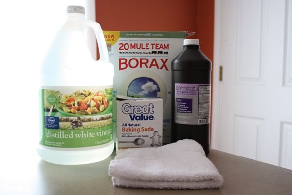 homemade cleaners: vinegar, baking soda, peroxide, borax, and water, all either non-toxic