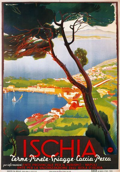 TV97-Vintage-1940s-ISCHIA-Island-Italian-Italy-Travel-Tourism-Poster-A2-A3