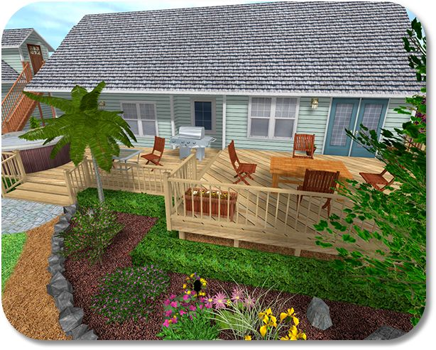 Landscaping around the deck