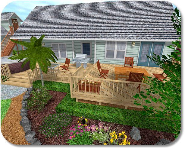 Landscaping around the deck gardening lawn perinnials for Garden decking near me