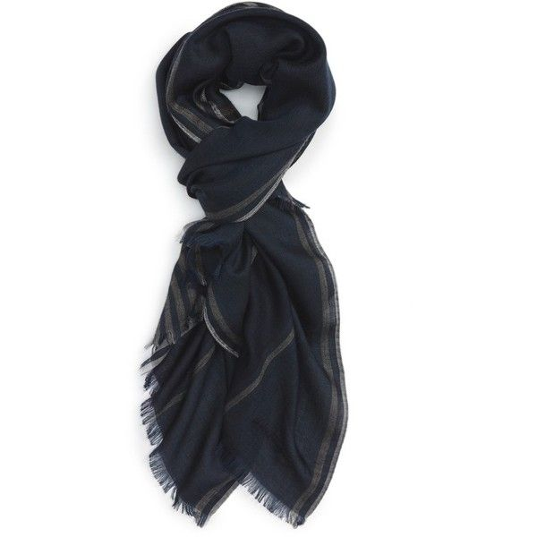 Men's Salvatore Ferragamo Stripe Cashmere, Wool & Silk Scarf ($350) ❤ liked on Polyvore featuring men's fashion, men's accessories, men's scarves, blue notte, mens scarves, mens wool scarves, mens silk scarves and mens cashmere scarves