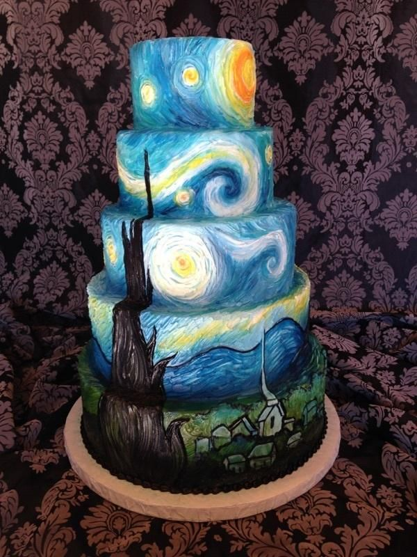 starry night - Cake by breyanne hand-painted buttercream