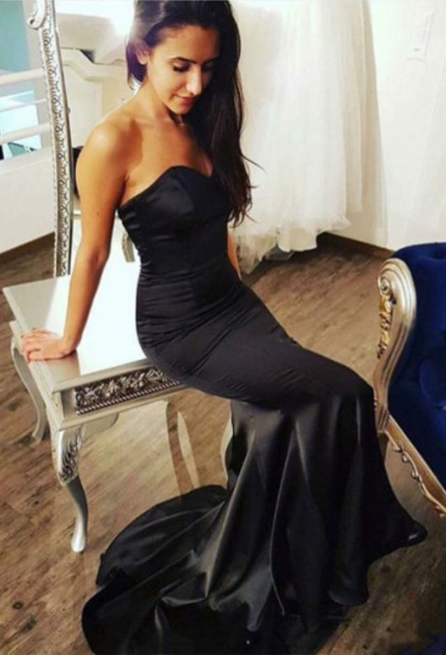 Simple black Mermaid Long Prom Dress,Mermaid Evening Dress #prom #promdress #dress #eveningdress #evening #fashion #love #shopping #art #dress #women #mermaid #SEXY #SexyGirl #PromDresses
