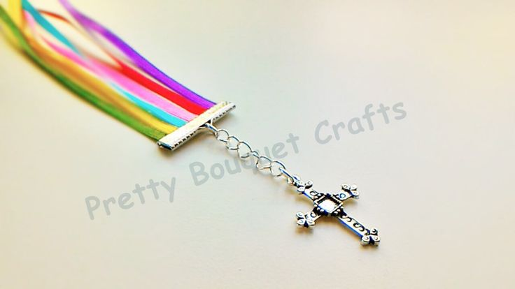 Cross Charm 6 Strand Multiple Colors Bookmark | Bible Bookmark | Multi Page Bookmark|Religious Bookmark|Rainbow Bookmark|Ribbon Bookmark by PrettyBouquetCrafts on Etsy