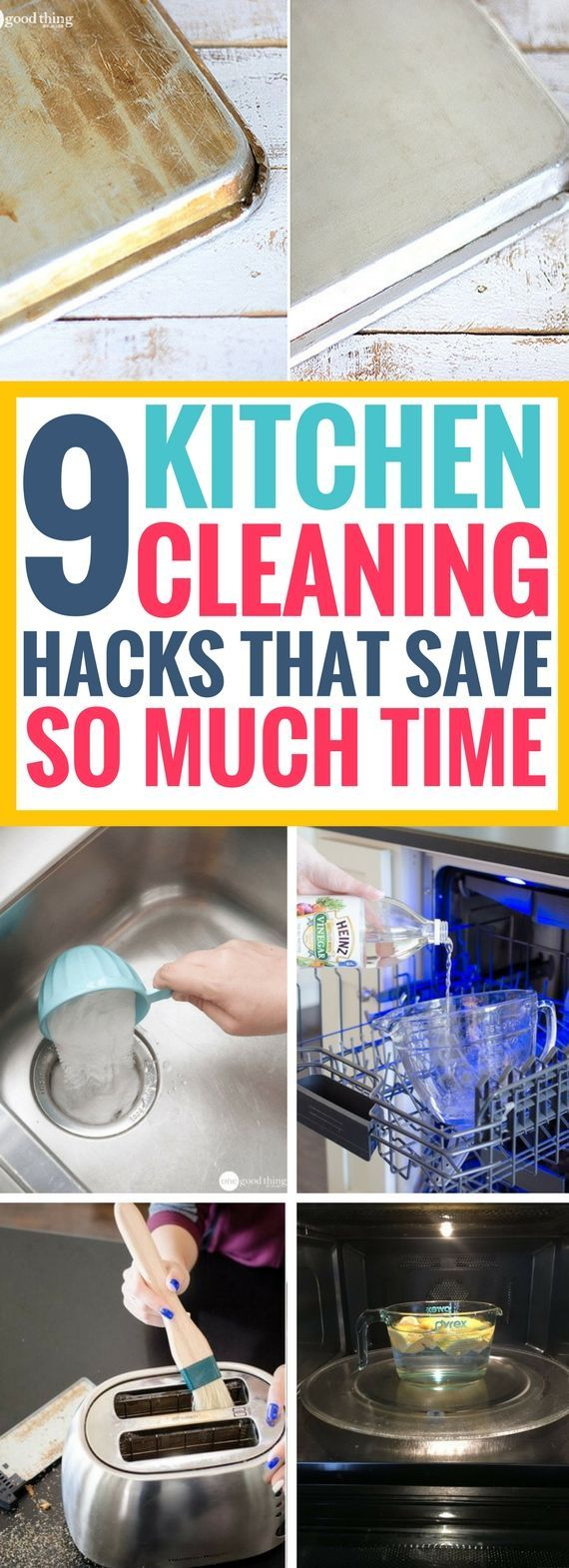 These Kitchen Cleaning Hacks are the BEST! Really great ways to clean appliances in your kitchen without much stress and so fast too! Totally in love with these cleaning hacks. Definitely saving for later!