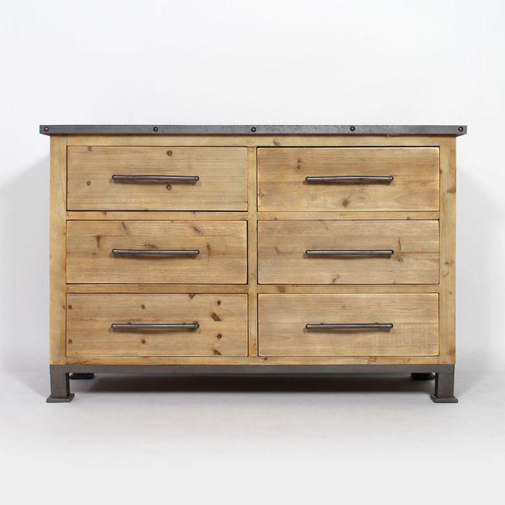 commode industrielle 6 tiroirs commode industrielle commodes et industriel. Black Bedroom Furniture Sets. Home Design Ideas