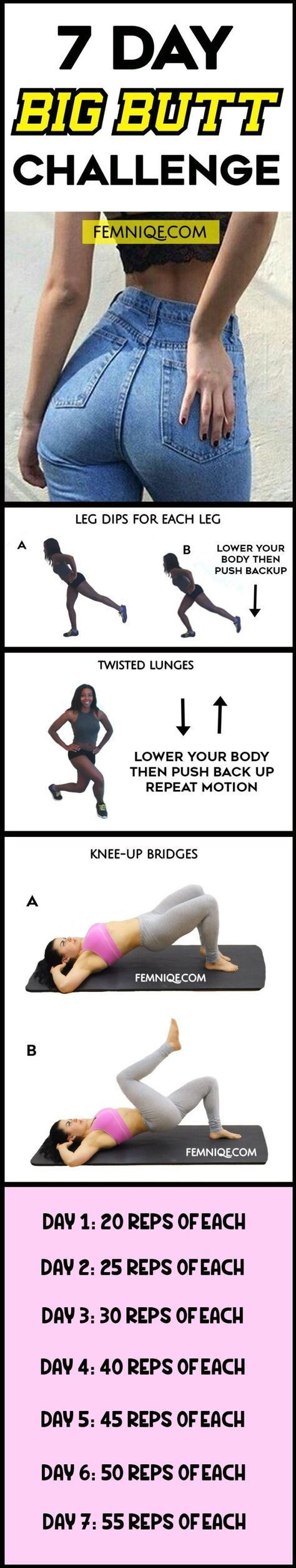 7 Day Butt Challenge (No-Squats) - Want to get a bigger butt in a week fast? Then this 7 day booty challenge plan can help you achieve that! Start building a big butt with this plan now! by bertha