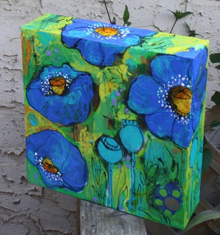 wild blue. Original painting by Maria Pace-Wynters   Mixed Media Artist