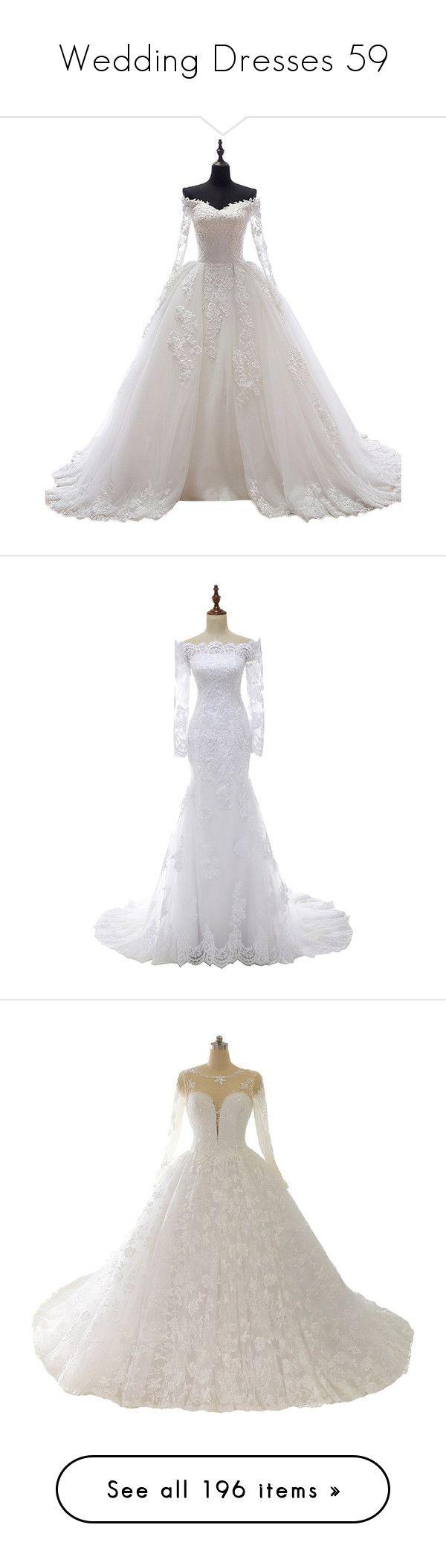 """Wedding Dresses 59"" by singlemom ❤ liked on Polyvore featuring dresses, wedding dresses, wedding, gowns, wedding dress, vintage white dress, vintage white lace dress, sheer dress, white lace dress and off white dresses"