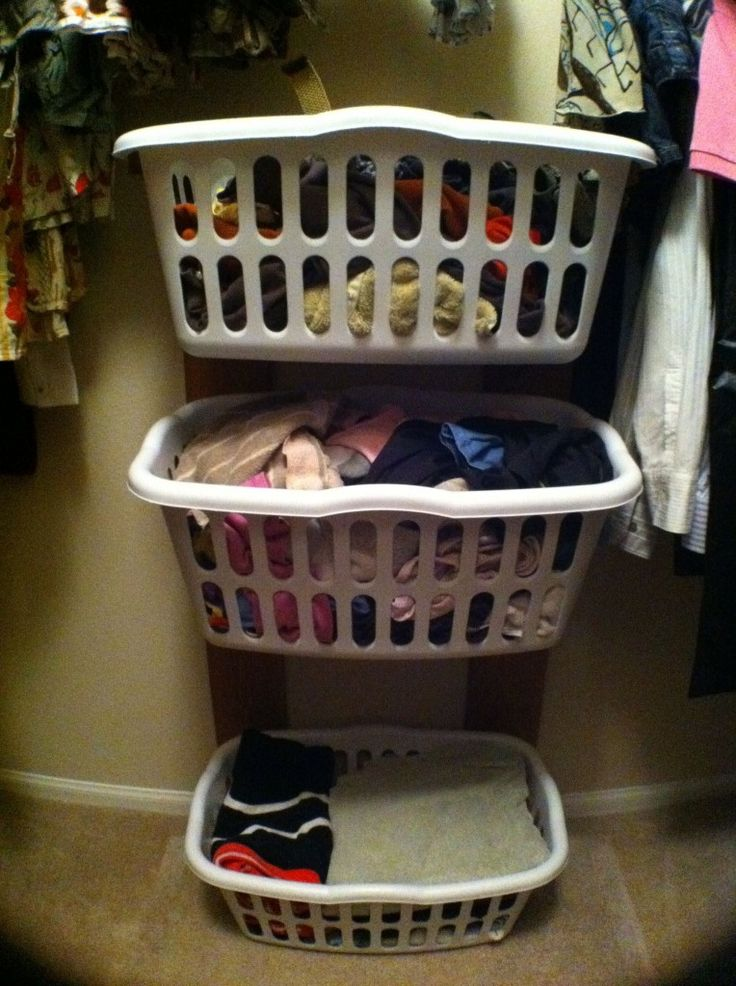 DIY: Closet clothes basket rack...neat idea! | Repurposed and DIY Stuff | Stackable laundry