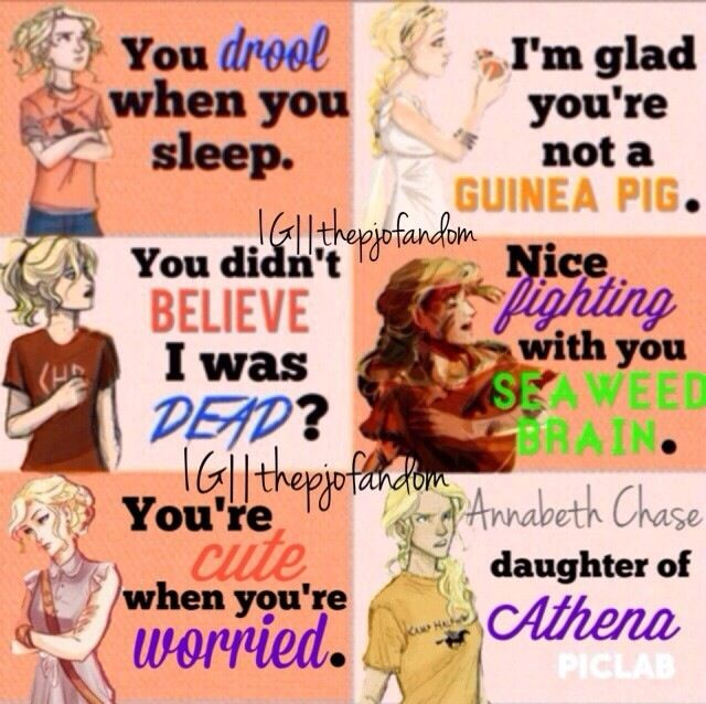 Annabeth Chase- My favorite of the seven heroes I like the rest though. But Annabeth's brain hahaha