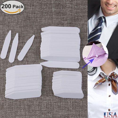"200pcs Plastic Shirt Collar Stays Bones Stiffeners in 3 Size 2.5"" 3"" 2"" White"