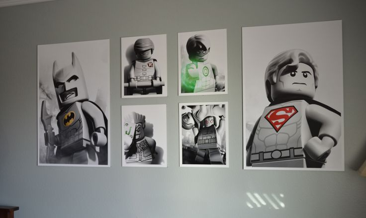I love love this set that I found for my LEGO and Batman fanatic son.  Perfect for his LEGO theme room. I printed these out on poster board and they look amazing!: