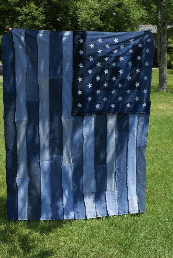 Denim Flag Rag Quilt Patriotiotic and Warm by IdleHandsinAlabama