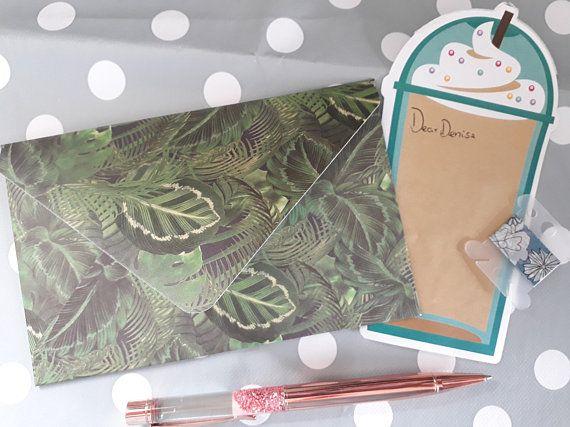 Tropical Jungle Envelope, single envelope, foliage, tropical theme, budgeting envelopes, snailmail, penpal, planner decor, planner addict