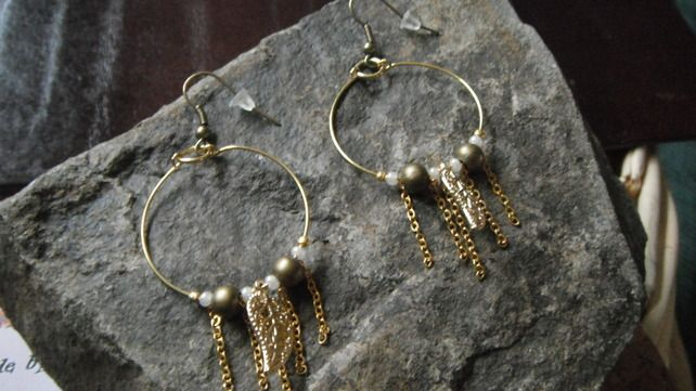 Autumn Leaves Gold Tone Loop Earrings £2.99