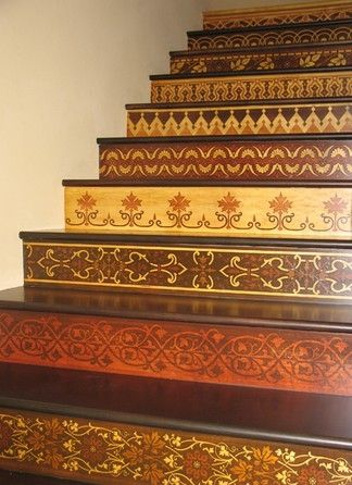 Moroccan Stenciled Stairs. Beautiful idea for my stairs.