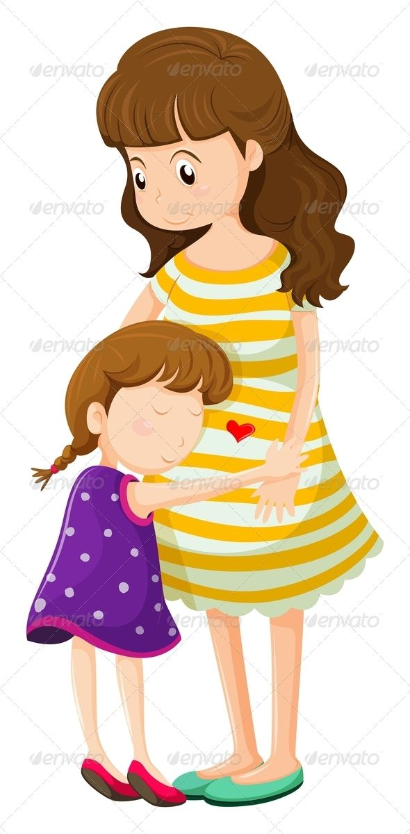 daughter hugging her mother people characters things