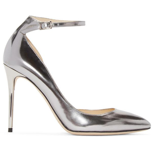 Jimmy Choo Silver Mirrored Lucy Heels ($635) ❤ liked on Polyvore featuring shoes, pumps, metallic shoes, pointed toe pumps, ankle strap shoes, silver metallic pumps and silver pumps
