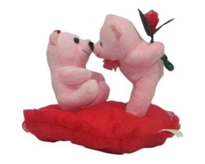 Valentine Special Poly Fiber Teddy Bears (Kissing Couple) (Red & Pink) Buy Online Best Price
