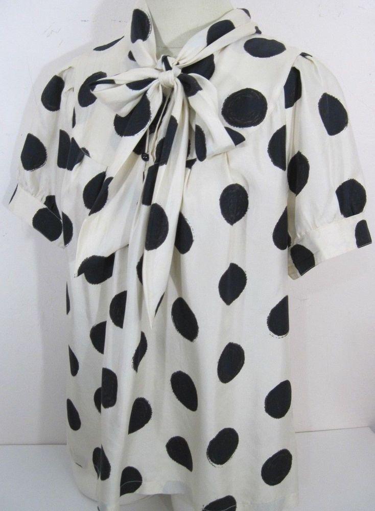 Banana Republic Secretary Blouse Silk Black Polka Dot Short Sleeve Womens XL #BananaRepublic #Blouse #Career