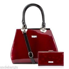 Serenade Cherry Croc Leather Handbag & Wallet Set (H19-7337)