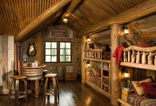 """Rustic and precious bunkroom built in the narrow roof lines of this log home.  Such a great spot for kids (and big kids!) at the vacation home.  Or as I like to say """"small space, big impact"""" spot!"""