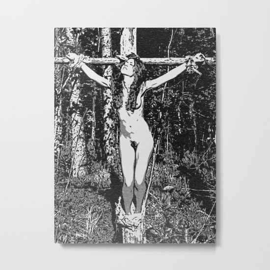 In the woods - black and white bondage, sexy slave girl erotic nude, tied, crucified naked woman Metal Print