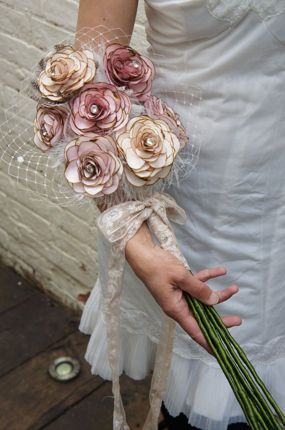 hand made vintage fabric wedding bride's bouquet silk by hapitat, £285.00