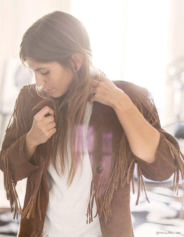 Morgane Bedel, style story, Paris, fringe jacket, vintage; white jeans, Acquaverde; screw you flats, Stubbs & Wootton / Garance Doré