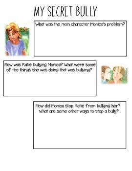 This Is A Great Activity To Follow Up With The Book My Secret Bully Students Answer Questions From About Bullying