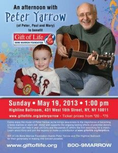 Peter Yarrow (of Peter, Paul and Mary) throwing a benefit concert for Ezra and The Gift of Life in NYC