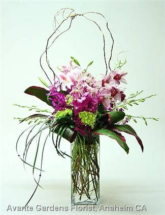 Orchids and Lilies Contemporary Vase
