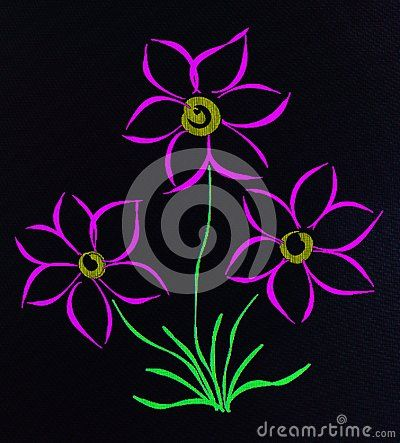 A close up of a hand drawn sketch on a tablet of simple mauve blooms on a black background.