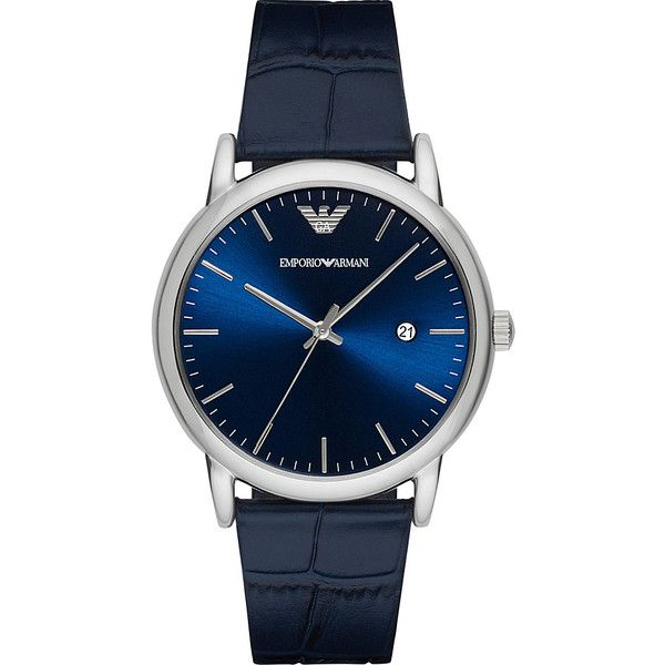 Emporio Armani Dress Watch - Blue - Men's Watches ($175) ❤ liked on Polyvore featuring men's fashion, men's jewelry, men's watches, watches, blue, mens dress watch, mens watches jewelry, mens blue watches, mens dress watches and emporio armani mens watches