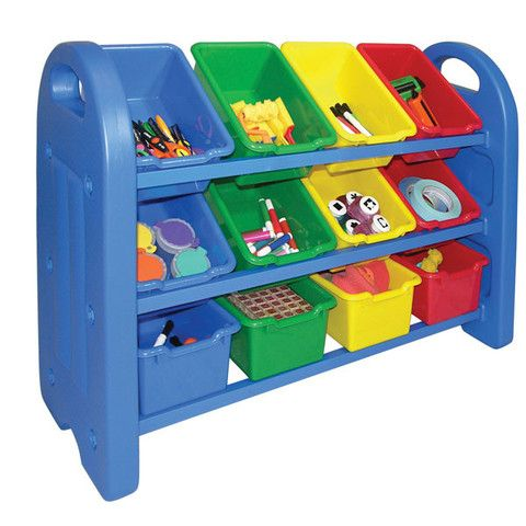 Organize and decorate your classroom or playroom with this brightly-colored storage solution. The functional 3 Tier Storage Organizer is easy-to-clean and has rounded edges for safety, as  well as built-in handle cut-outs for easy mobility. It comes with (12) scoop front storage bins that can be positioned in (2) way for storing and displaying your child's favorite toys, games, puzzles and more.