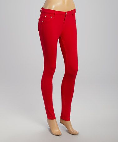 Love this Red Stretch Jeggings by 1826 Jeans on #zulily! #zulilyfinds